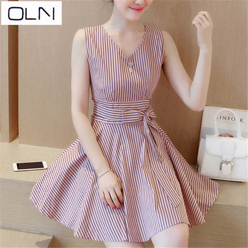 OLN ドレス韓国 vestidos 夏新到着卸売 V ネック気質ストライプドレス女性スリム