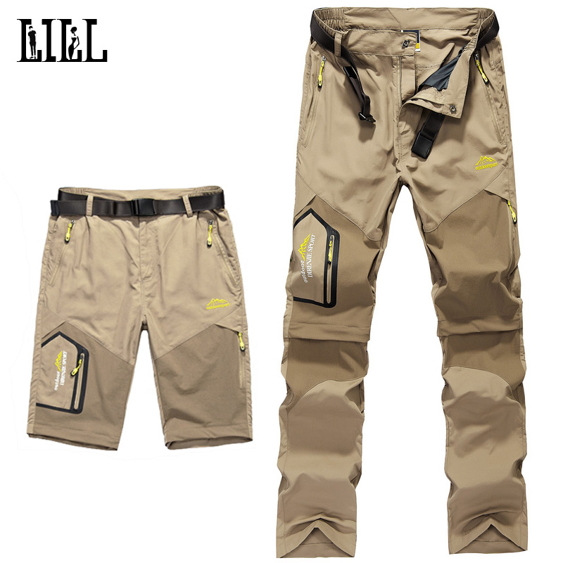 LILL 5XL Mens Removable Quick Dry Casual Pants Men 2017 Summer Thin Trousers Male Army Military