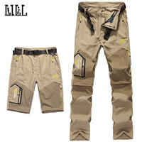 LILL | 5XL Mens Removable Quick Dry Casual Pants Men 2017 Summer Thin Trousers Male Army Military Zipper Short Cargo Pants,UA162