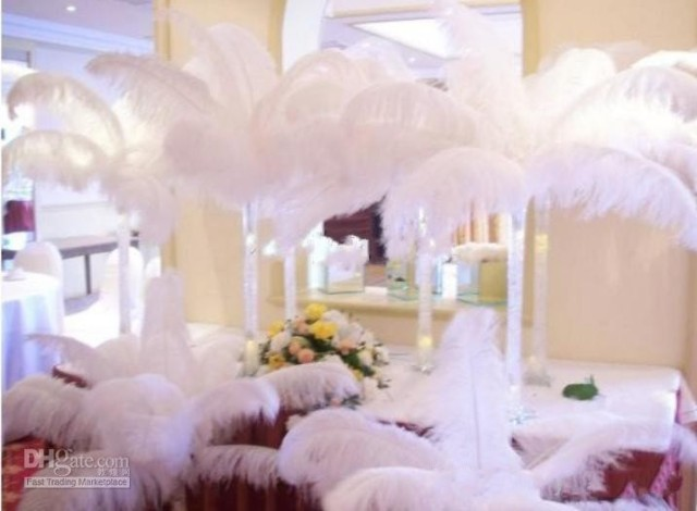 20pcslot 12 14inch white ostrich feathers plume centerpiece for wedding party table decoration - Aliexpress Decoration Mariage