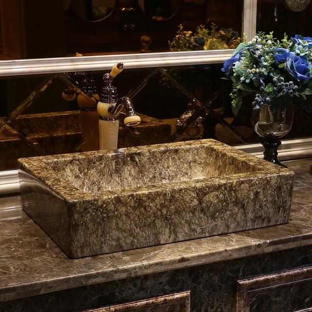 Rectangle Imitation Marble Europe Vintage Style Art Porcelain Countertop  Basin Sink Handmade Ceramic Bathroom Vessel Sinks
