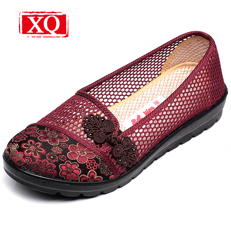 XQ New Breathable Cloth Shoes Fashion Women Hollow Out Summer Casual Shoe Air Mesh Flat Shoes Sandals Non-slip Ladies Shoes S102 new women shoes breathable fashion ladies flats non slip summer wedges shoes for women aa10218