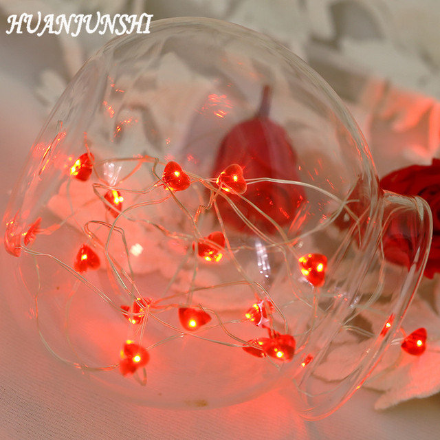 huanjunshi 3 m30 led red love heart shape string lights copper wire light