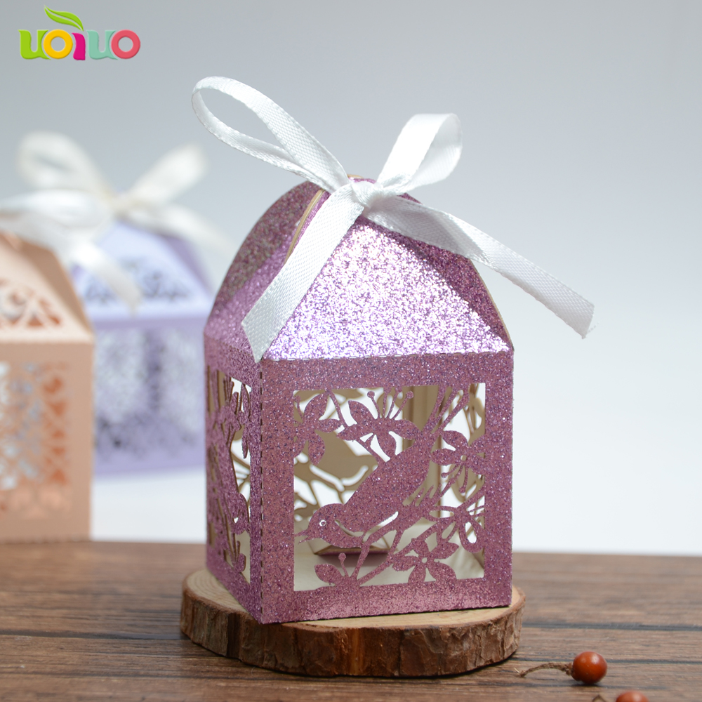 new material rose gold glitter paper cheap indian wedding return gift laser cut love bird wedding gift candy box image