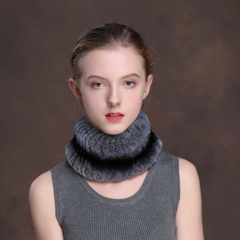 [Rancyword] ฤดูหนาว Headbands สำหรับสตรี Rex กระต่ายขนสัตว์ผ้าพันคอหมวกขนสัตว์ธรรมชาติแหวน hairband Neckwarmer หญิง RC1327