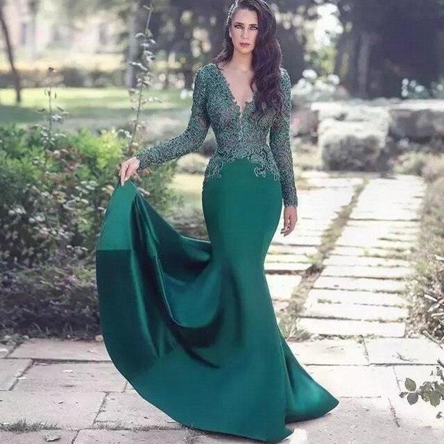Saudi Arabian Lace Applique Long Sleeves Prom Gowns Dark Green Custom Made  Evening Gown Robe De Soiree Abiye Vestido Longo 887fd6d47a44