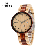 REDEAR Hot Sell Newest Wood Watch with Week Show Date Display Quartz Watches Two tone Wooden Wristwatch Mens Watch Wedding Gifts