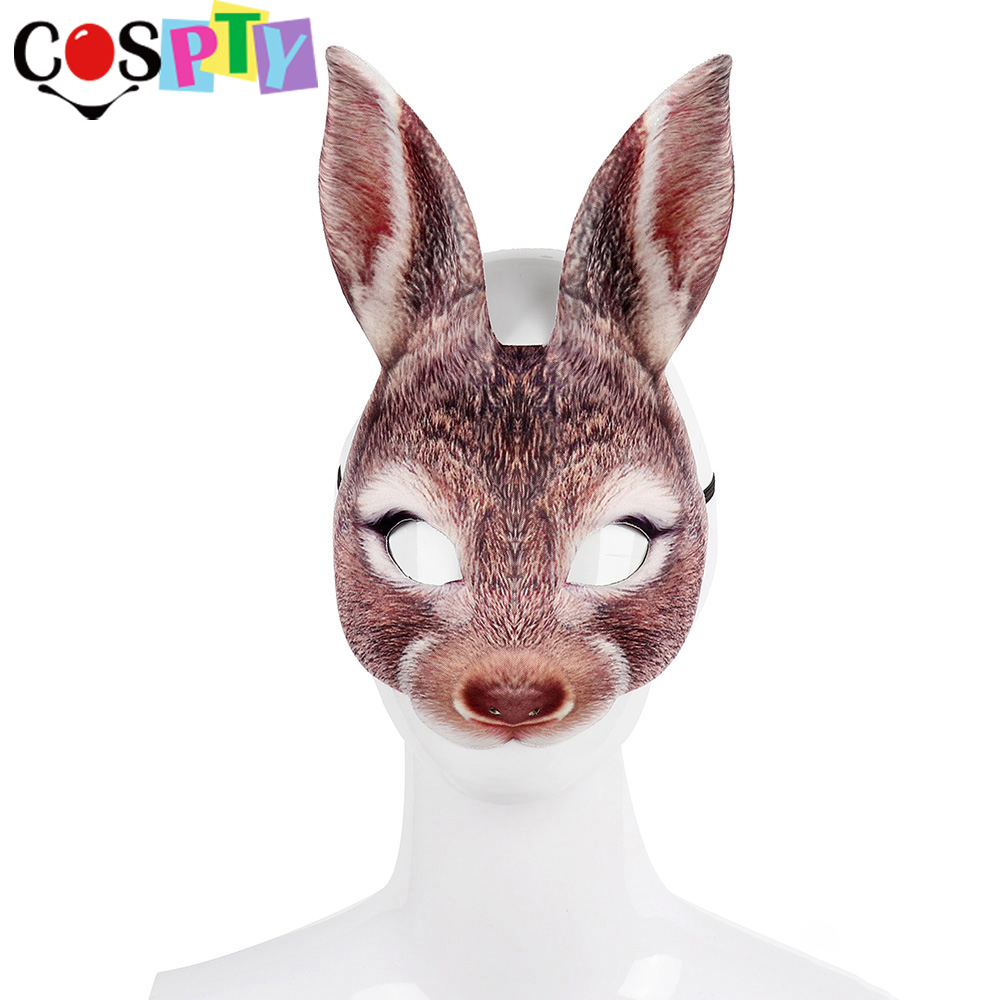 Maskimals EASTER BUNNY MASK Full Head Furry Rabbit Costume NEW  DANDEE W//SOUNDS