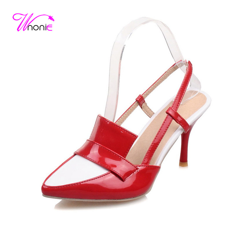ФОТО 2017 New Fashion Women Sandals Basic High Heel Spike Pointed-toe Slip-on PU Mixed Color Dress Party Sexy Summer Cool Lady Shoes
