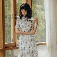 VERRAGEE new arrival 2019 dress elegant summer vintage print maxi dress ruffle sleeve Long patterns Dress