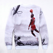 Spring/Autumn Men/Women's 3D Pullover Hoodie Print Jordan Dunk Hip Hop Sweatshirt Cool Long Sleeve Crew Neck Casual Sweatshirt