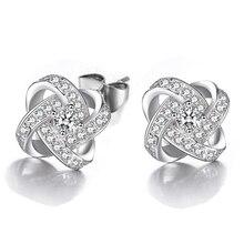 JEXXI Classic AAA Crystal Cross Wedding Stud Earrings For Women Fashion Sterling Silver Jewelry CZ Diamond