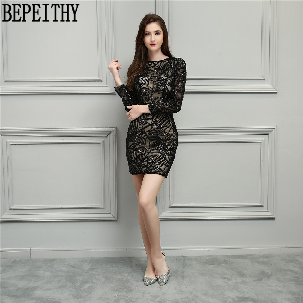 BEPEITHY New Design Vestido De Festa Longo O-Neck Little Black   Dresses   Long Sleeve Short Prom   Dresses     Cocktail     Dresses   2019