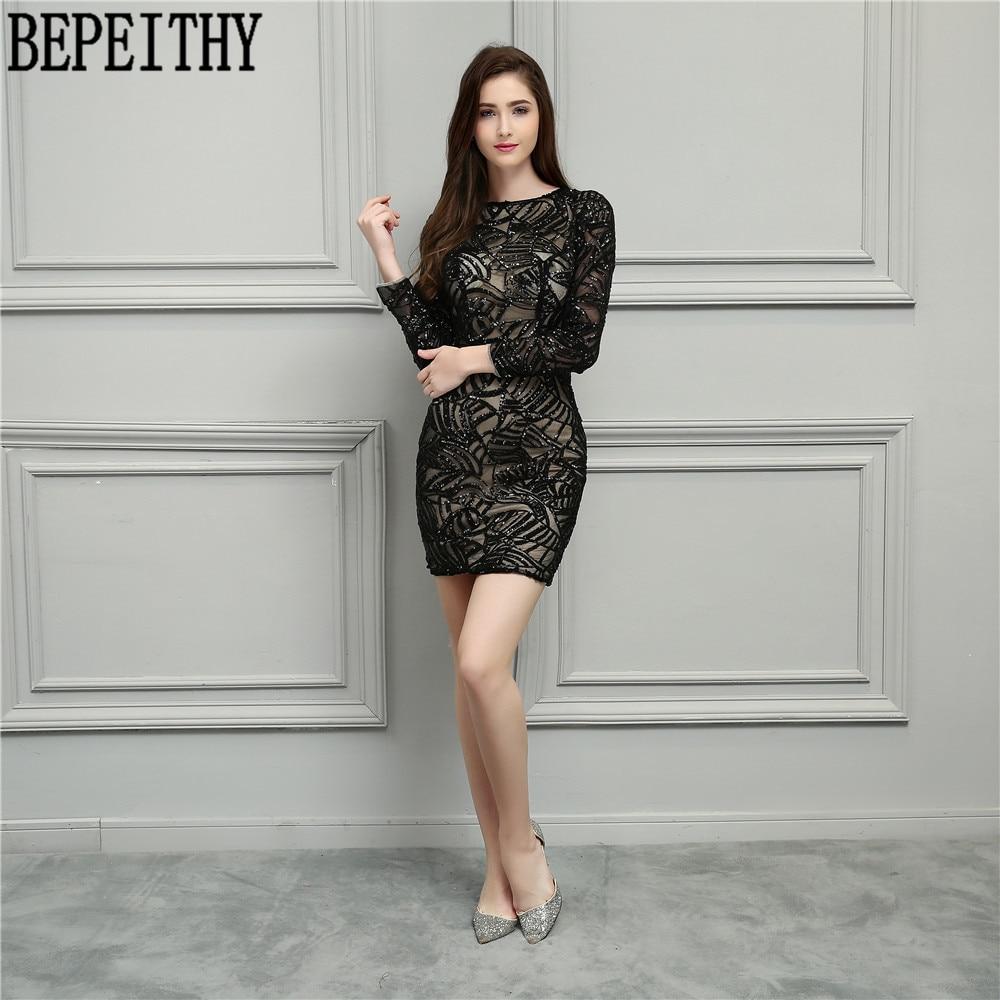BEPEITHY New Design Vestido De Festa Longo O Neck Little Black Dresses Long Sleeve Short Prom Dresses Cocktail Dresses 2018