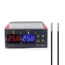 Двойной цифровой термостат для инкубатора, регулятор температуры, два релейных выхода, терморегулятор, 10 А, STC-3008 охлаждения, 12 В, 220 В