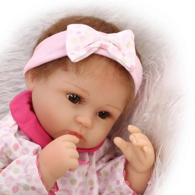 17 Inch 43 cm Realistic Reborn Baby Dolls Silicone Soft Lifelike Newborn Girl Babies Cloth Body Toy Kids Birthday Xmas Gift