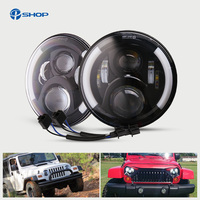 For Hummer H1 H2 Led Headlight 50w 7 Inch LED Headlights High Low Beam Angel Eye