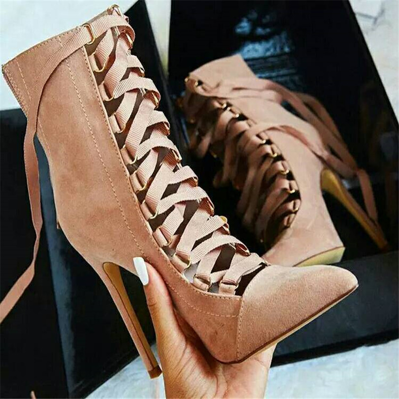 2017 New Arrival Woman Fashion Shoes Dames Schoenen Cow Suede Pointed Toe High Heels Riband Lace Up Cross-Tied Women Pumps Shoes sapato feminino dames schoenen the new 2017 national wind woman of genuine shoes lvkong high restoring ancient ways with 5690