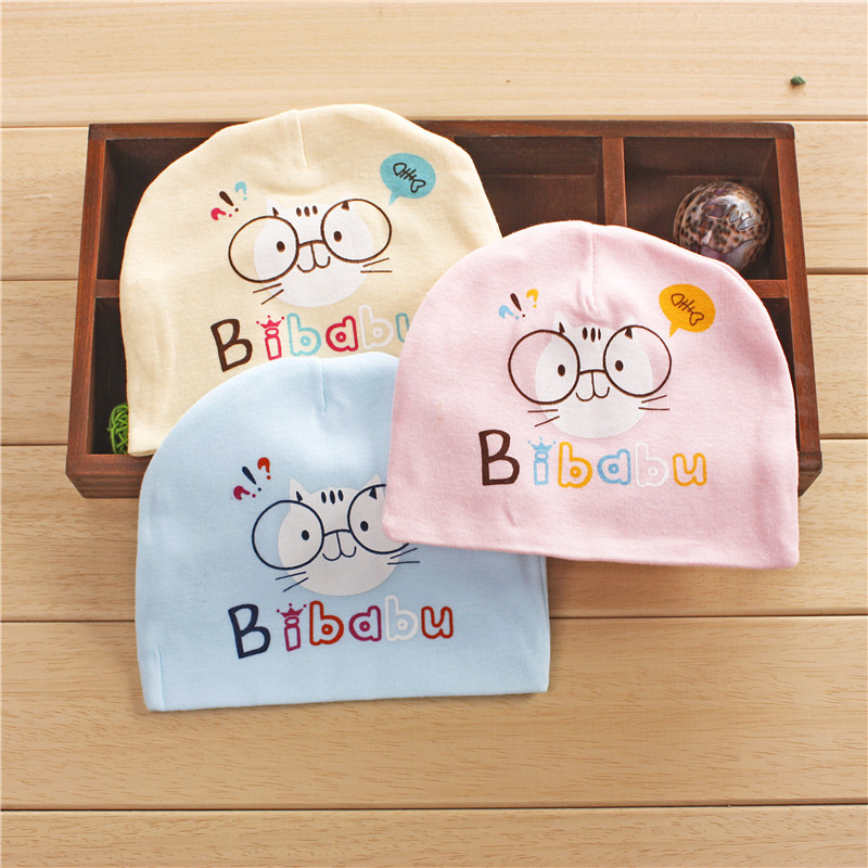 2018 Baby Hat Cartoon Character Cat Print Caps For Boy Girl Cotton Knit Spring Autumn Winter Children Hats Baby Beanie