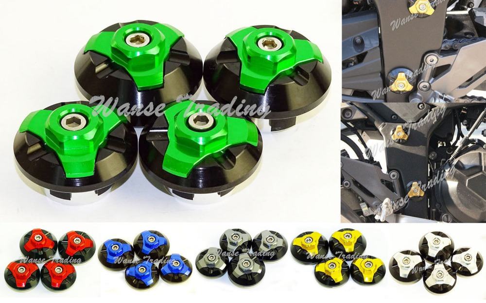 waase 4pcs CNC Frame Hole Caps Cover Plug Low & Up For Kawasaki Ninja 250R 2008 2009 2010 2011 2012