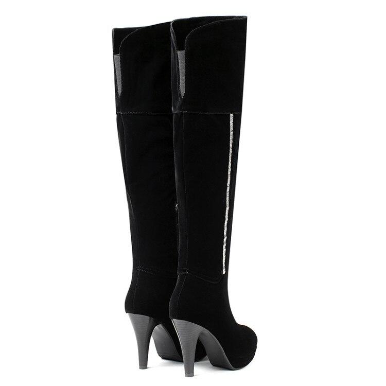 Troupeau Noir Sur De Haute En Fourrure Chaud Bottes Cuir 2019 Femmes Cuissardes Hiver Genou Sexy Mince Talons Chaussures Nouveau {zorssar} Le q1wYRAEn