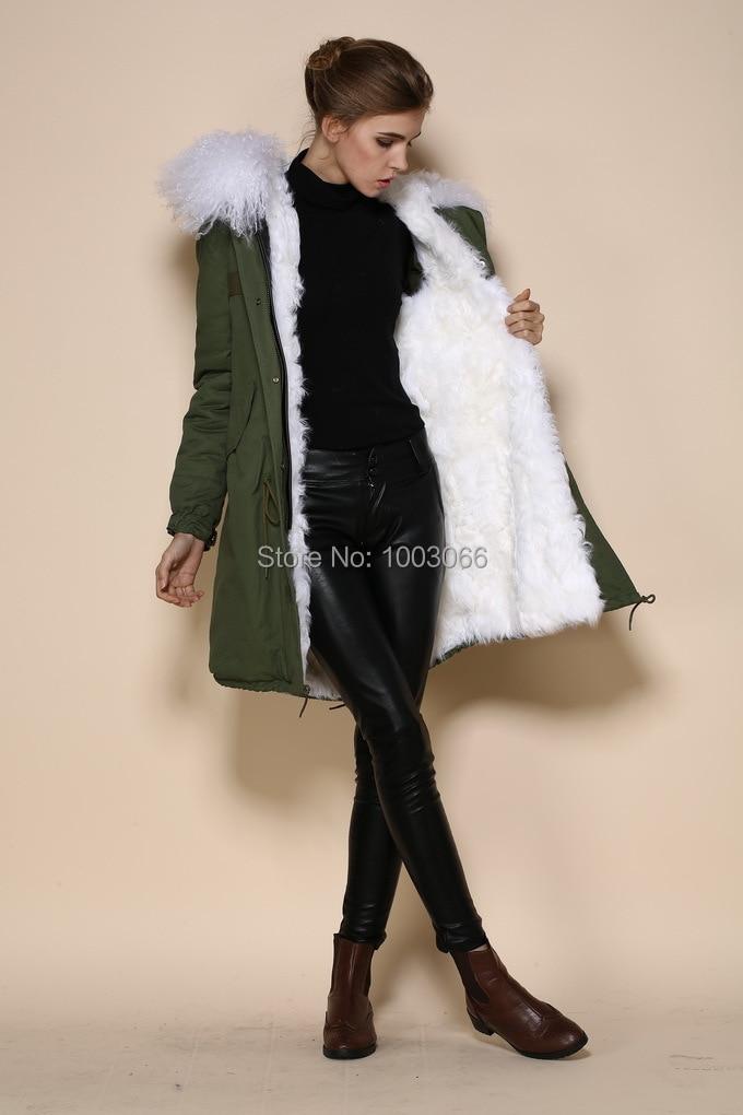 Armée vert coquille neige blanc couleur intérieure anti-usure militaire long manteau fourrure