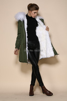 army green shell snow white color inner anti wear military long over coat fur