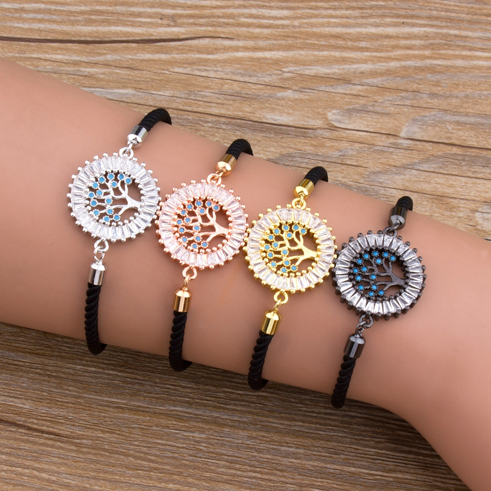 New Arrival Micro Pave Copper CZ Charm Rope Chain Bracelets Bangles For Women Tree of Life Adjustable Bracelet Fine Jewelry Gift in Chain Link Bracelets from Jewelry Accessories