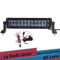 120w 14 Inch LED Light Bar 4X4 ATV SUV Off Road Driving Light 12v 24v Tractor