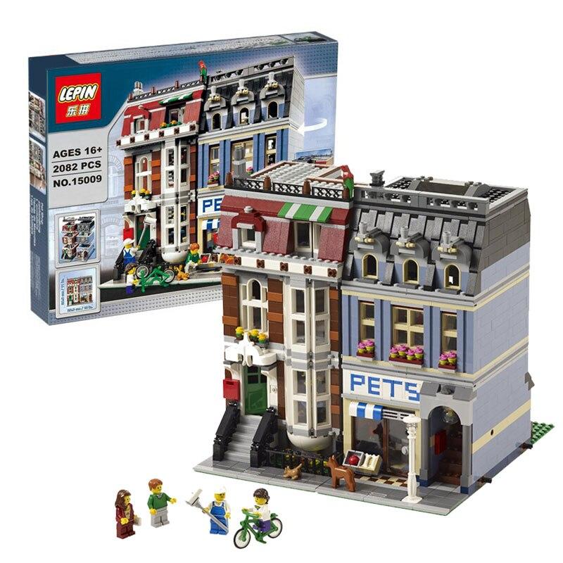 2082PCS font b LEPIN b font 15009 City Street Creator Pet Shop Model Building Block Set