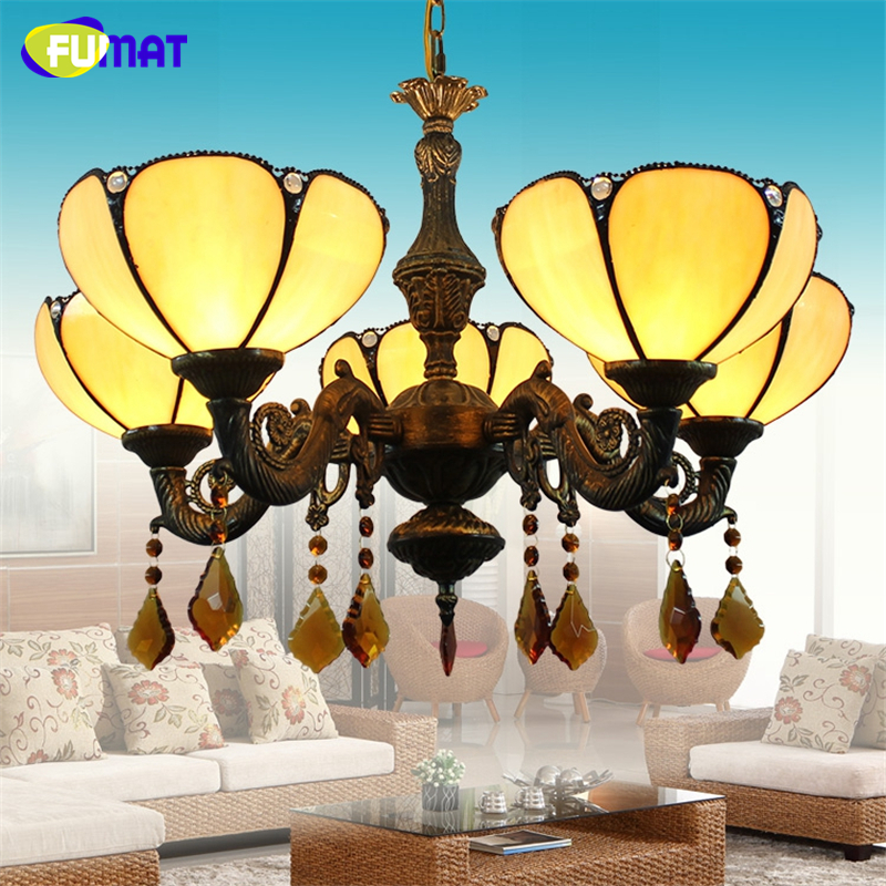 FUMAT American Tiffany Light Vintage Yellow Shade Chandelier For Living Room Dining Room Stained Glass Light LED Chandeliers