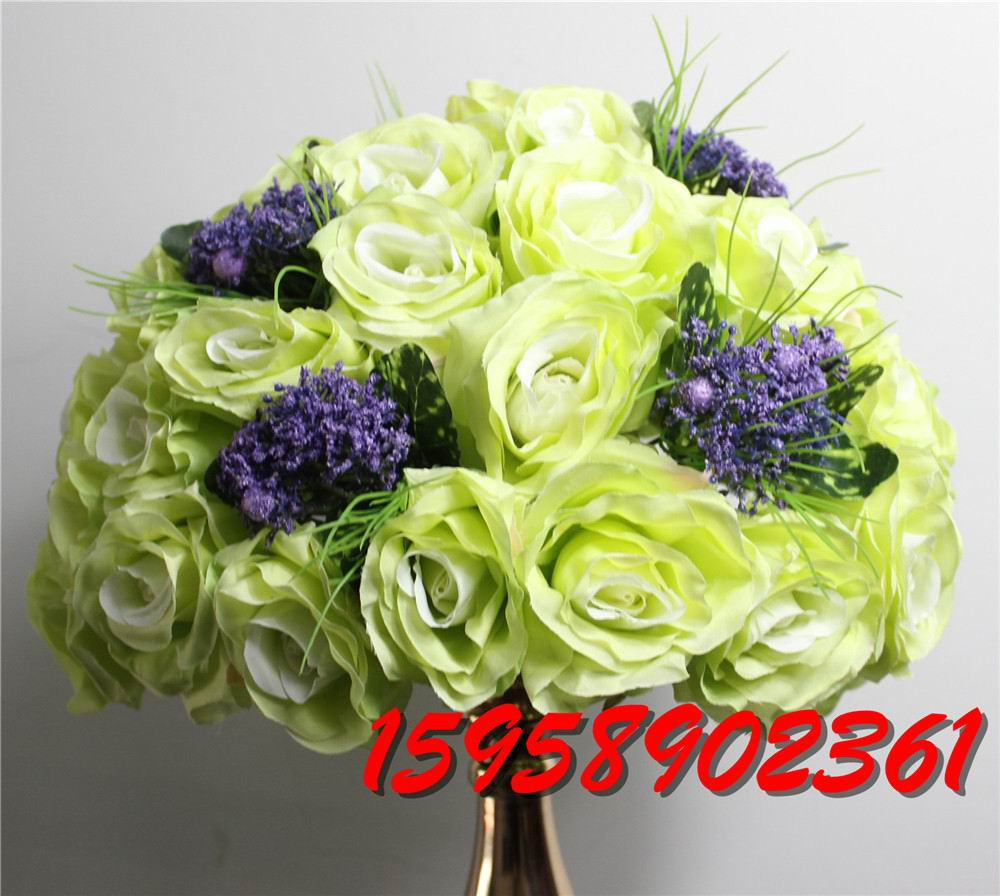 Green 2016 style 10pcs lot wedding road lead artificial for Artificial flower for wedding decoration