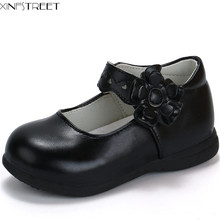 Xinfstreet Girls Shoes Leather Brand Cute Flower Little Kids For Classic Black White Children Princess Girl
