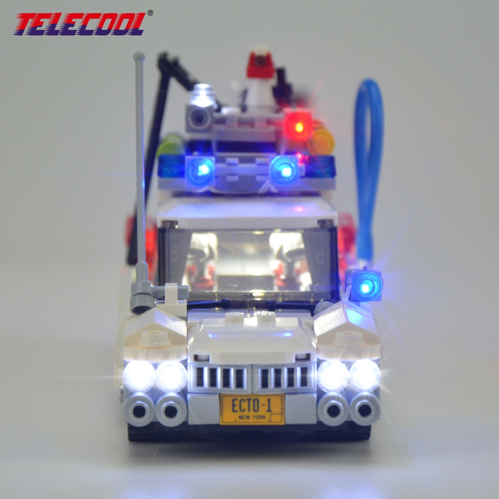 TELECOOL LED Light Up Kit (Only light set) For Ghostbusters Ecto-1 Compatible with Lepin 21108 Model Building Kit Toy led light up kit gor city model building block figures accessories kit toys for children compatible with lepin
