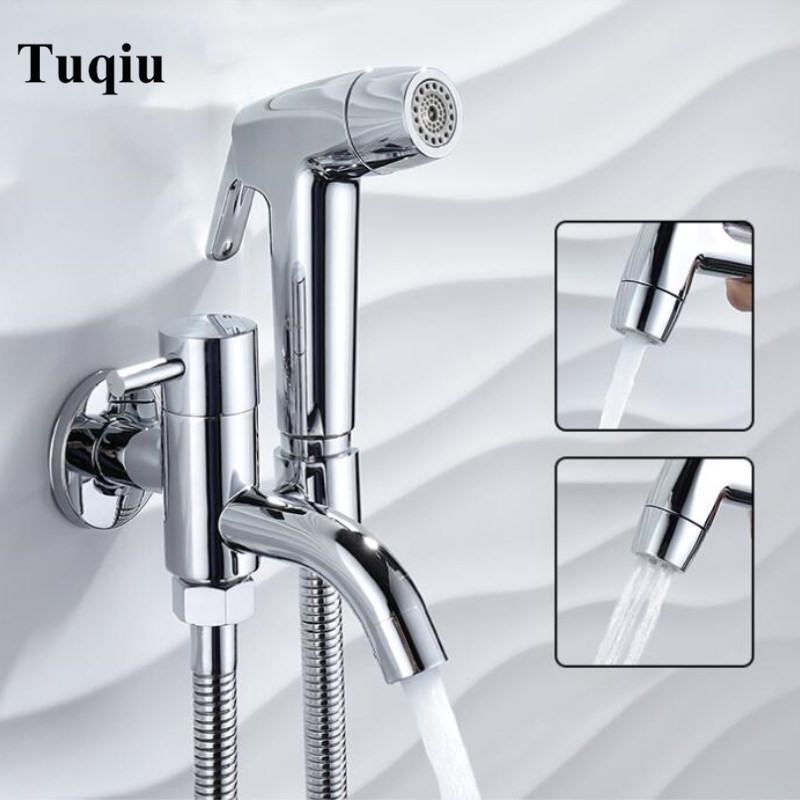 Wall mounted Solid Brass Double Use Bidet Faucet Set Single Cold fashion chrome with foldable plumbing hose and ABS shower head цены онлайн