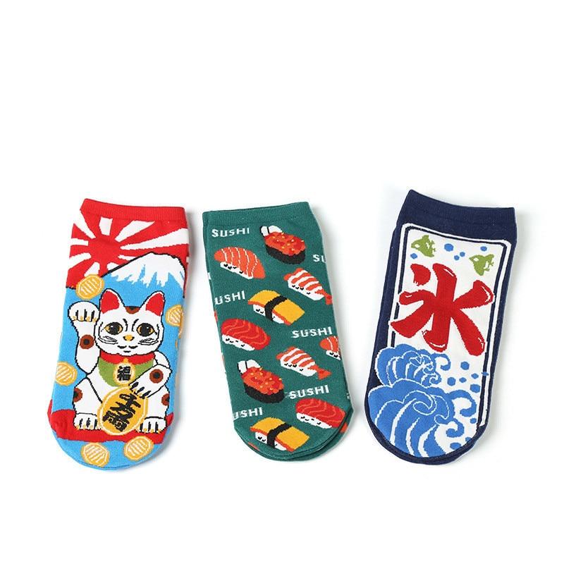 2018 New Hip Hop Cartoon Happy Socks Art Cotton Teo Socks Recruit Lucky Cat Boat Socks Inbetweening Personality Woman Socks Men