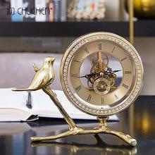 European-style light luxury clock, modern minimalist living room bedside table, desk clock.