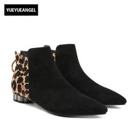 Women Leopard Printed Real Suede Leather Ankle Boots 2018 New Night Club Footwear Pointed Toe Elegant