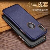 Mohini Jong Hot verkoop Nieuwe mode 4 Kleuren merk voor iPhone X Real Echt lamsleren cover Telefoon Case Comfortabele cover