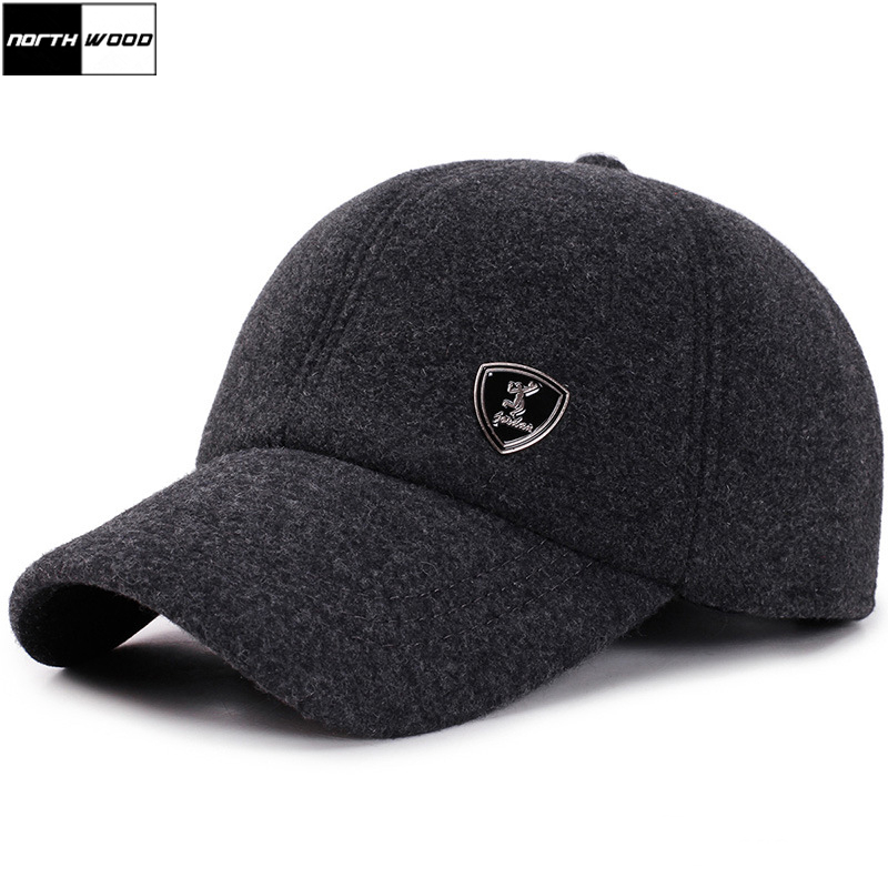 [NORTHWOOD] Winter   Baseball     Cap   Men Snapback Hat With Earflaps Gorras Para Hombre Solid Trucker   Cap   Casquette Homme Winter   Caps
