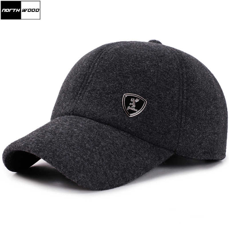 0496e1e7666a2  NORTHWOOD  Winter Baseball Cap Men Snapback Hat With Earflaps Gorras Para  Hombre Solid Trucker