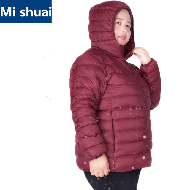 2016 Women Ultra Light Duck Down Jacket Plus Size 6XL 7XL Autumn Winter Hooded Down Coat Overcoat chaquetas camperas mujer