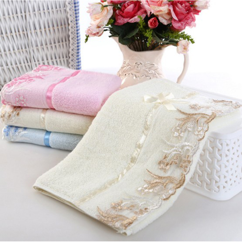 34x75cm Cotton Lace Face Hand Towels Bath Towel Absorbent Antibacterial Soft Comfortable Embroidered Flower Kids Beach Towel pink floral towels