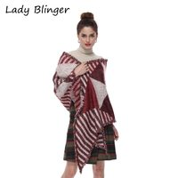 Lady Blinger super soft geometric faux cashmere shawl wine red warm winter women pashmina big long scarf triangle shawl