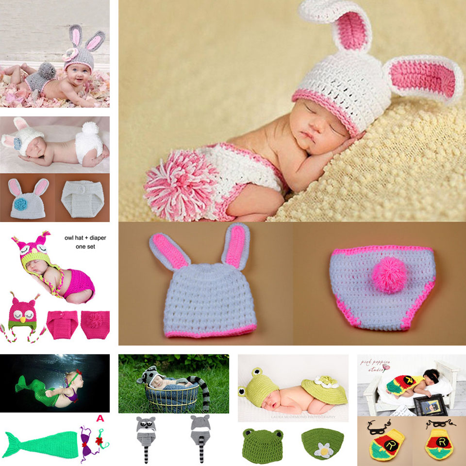 Lovely Crochet Bunny Rabbit Hat & Pants Set Baby Girl Photo Photography Props Strikkad Nyfödd Kostym 1set MZS-15019