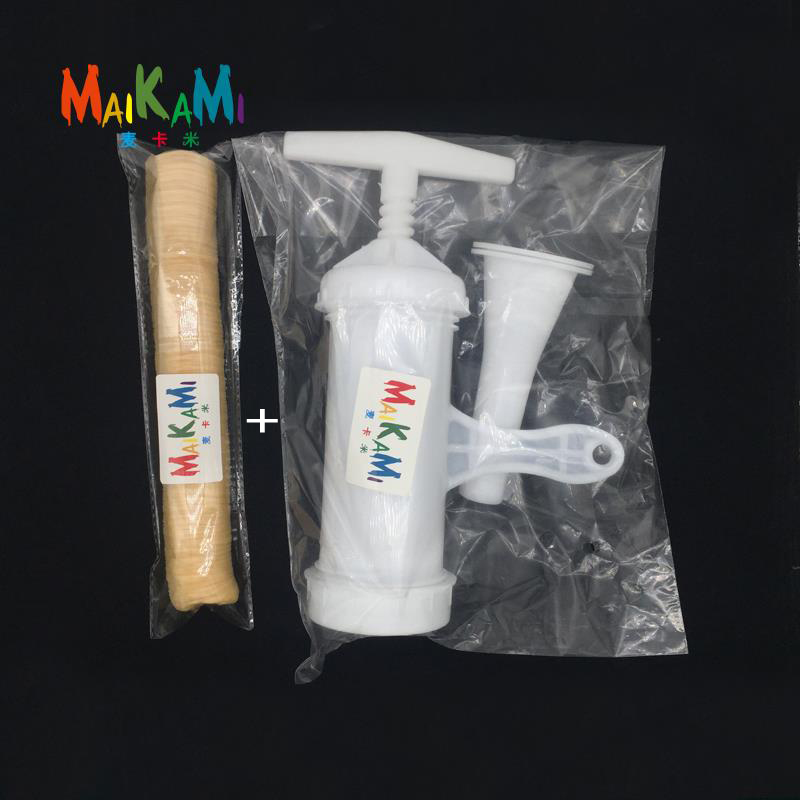 MAIKAMI Manuel Saucisse Charges De La Viande Machine + 14 m * 36mm Sec Collagène Saucisse Boîtier Tube Viande Saucisses Boîtier pour Fabricant de Saucisses
