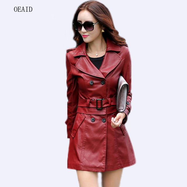 b49827ca3e9 Fashion Plus Size L XL XXL XXXL 4XL Long Leather Jacket Women Leather Coat  Female 2018 Spring Ladies Leather Jackets And Coats