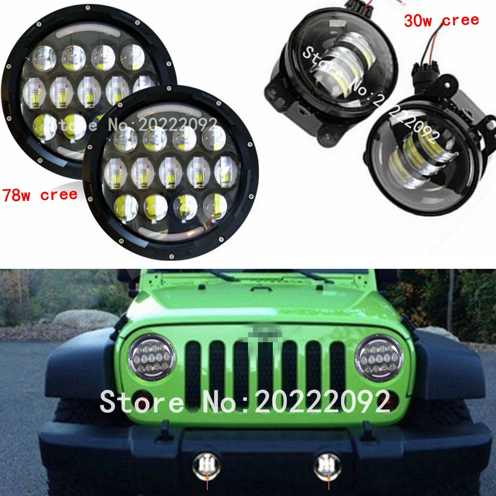 2pcs 7inch 78w hi/lo beam DRL headlight + 2pcs 4 inch 30W Round LED Fog Light for Jeep Wrangler