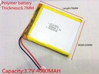 3.7 볼트, 4000 미리암페르하우어, 676576 PLIB (폴리머 리튬 이온 배터리) 리튬 이온 배터리, GPS, mp3, mp4, 휴대 전화, 스피