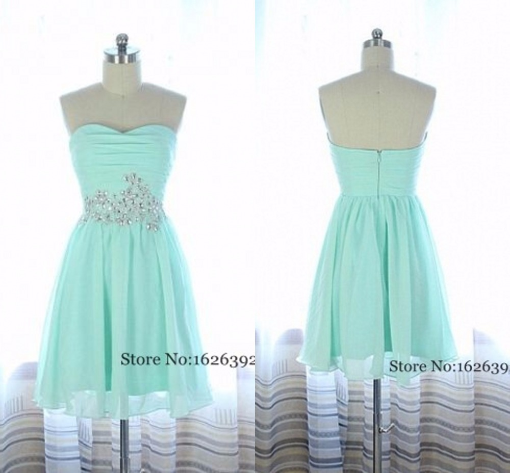 2017 Mint Green Mini Chiffon Homecoming Gowns Sweetheart Crystal ...